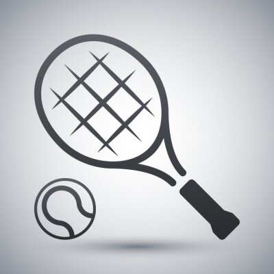 Plakát Tenisovou raketu a tenisový míček, vector icon