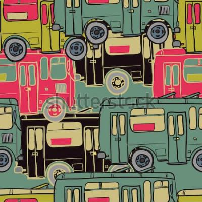 Plakát Textilní vzor bezešvé barevných autobusů