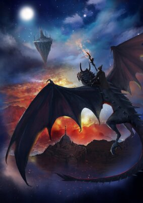 Plakát The dragon warrior are sitting on the dragon flying to the floating island with sky and burning background.  2D artwork.