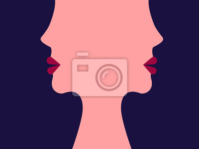Plakát The face of women. The girls. Abstract illustration. Flat style. Minimalism. Illustration for advertising, business cards and printing on t-shirts.