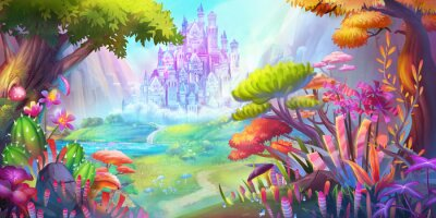 Plakát The Forest and Castle. Mountain and River. Fiction Backdrop. Concept Art. Realistic Illustration. Video Game Digital CG Artwork. Nature Scenery.