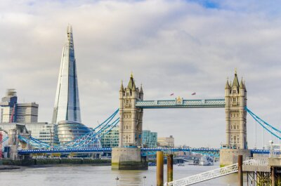 Plakát The Shard and Tower Bridge on Thames river in London, UK