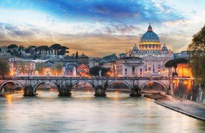 Plakát Tiber a Peter Bazilika St ve Vatikánu s duhou, Řím