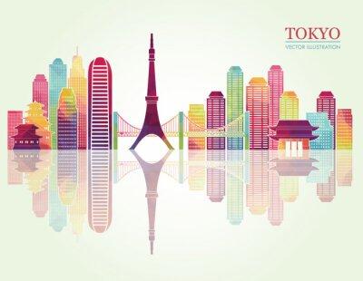 Plakát Tokio detailní panoramata. vektorové ilustrace