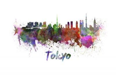 Plakát Tokio panorama v akvarelu