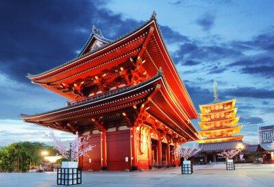Plakát Tokio - Sensoji-ji, chrám v Asakusa, Japonsko
