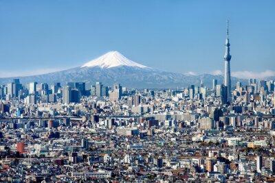 Plakát Tokio Skyline mit Mount Fuji und Skytree