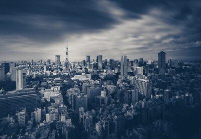 Plakát Tokyo city view and Tokyo Tower in dark tone