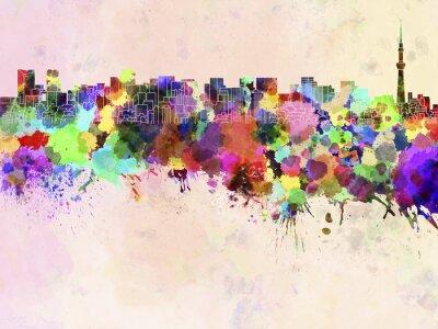Plakát Tokyo panorama v akvarelu pozadí