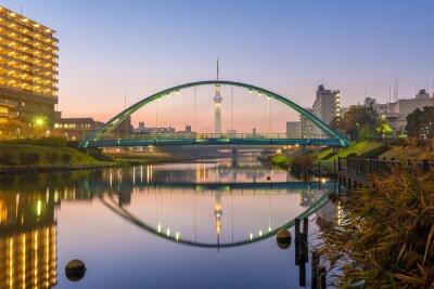 Plakát Tokyo Sky Tree a barevné most v reflexe