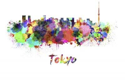 Plakát Tokyo V2 panorama v akvarel