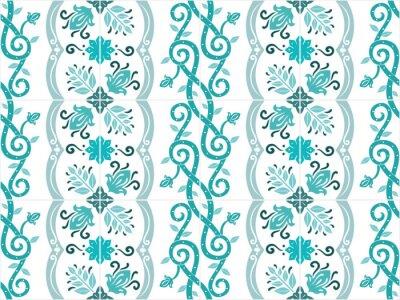 Plakát Tradiční ozdobené portugalština a brazilské kachle azulejos v tyrkysových barvách. Vintage vzor. Abstraktní pozadí. Vektorové ilustrace, eps10.