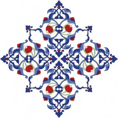 Plakát Tradiční starožitné osmanské turecké dlaždice ilustrace design