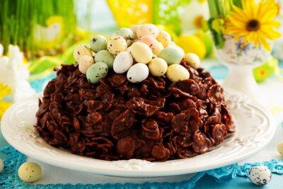 Plakát Tradiční velikonoční koláč čokolády s čokoládová vajíčka.