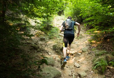Plakát trail runner with backpack running up the steep hill