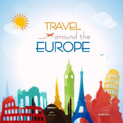 Plakát Travel around the Europe