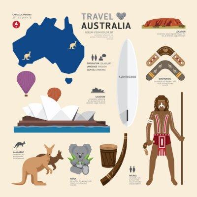 Plakát Travel Concept Austrálie Landmark Ploché Ikony design .Vector Illu