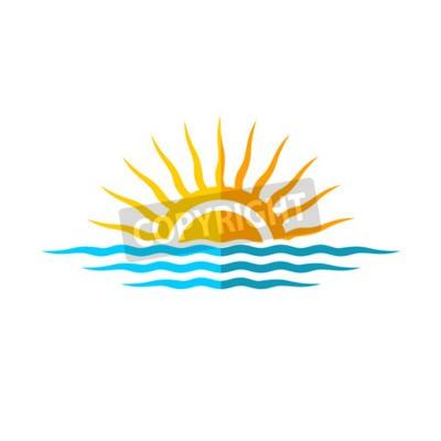 Plakát Travel logo šablony. Sun s mořskými vlnami.