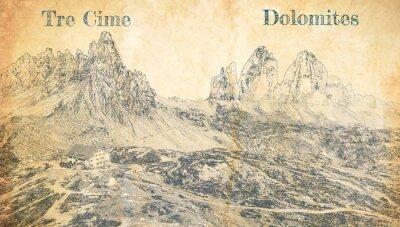 Plakát Tre Cime di Lavaredo in Dolomites, Italy, sketch on paper