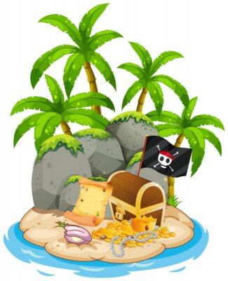 Plakát Treasure on island beach scene