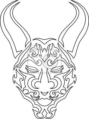 Tribal Japonske Masky Kresba Tuzkou Plakaty Na Zed Plakaty