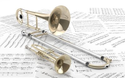 Plakát Trombon y Trompeta sobre partitury 2