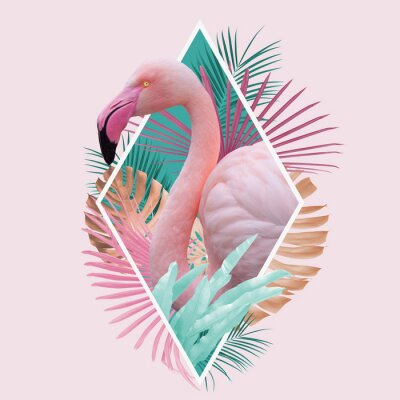 Plakát tropical leaves flamingo design in light pink, turquoise and golden colors, can be used as background, wallpaper
