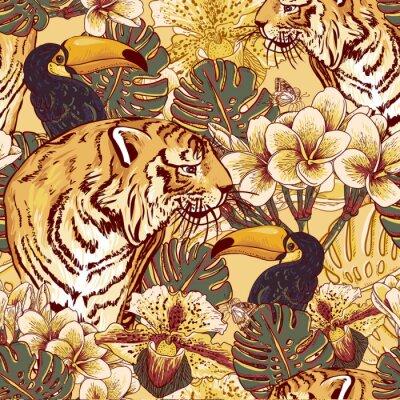 Plakát Tropické květinové bezešvé pozadí s Tigerem