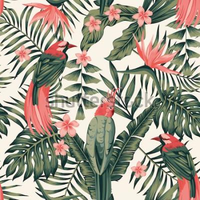 Plakát Tropické listy, keře květiny, rajští ptáci, papoušek abstraktní barvy bezešvé realistický vektorový obrázek