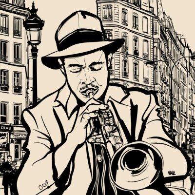 Plakát trumpetista na pozadí panoráma