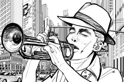 Plakát trumpetista v new-york