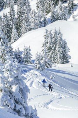 Plakát Turisté v zasněžené Tirol