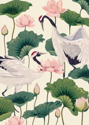 Plakát two japanese cranes and pink lotus