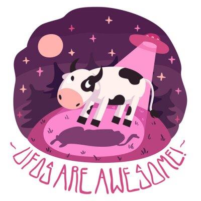 Plakát UFO jsou úžasné! vektor plakát (pozadí a karta) s krávou na kopci a UFO v noci s úplňku a hvězdy (kreslený styl)
