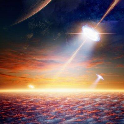 Plakát UFO na obloze