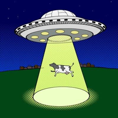 Plakát Ufo trvá kráva stylu pop art vektor