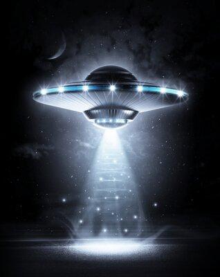 Plakát UFO v temné noci