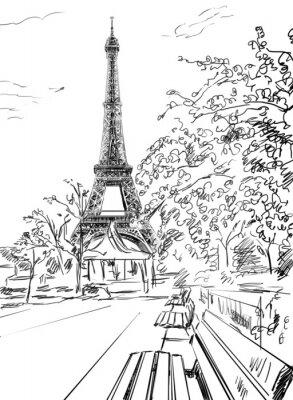 Plakát Ulice v Paříži. Eiffelova věž, skica ilustrace