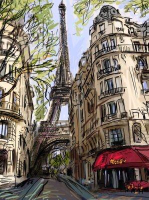 Plakát Ulice v Paříži - ilustrace