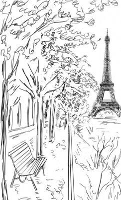 Plakát Ulice v Paříži na podzim. Eiffelova věž -Sketch ilustrace
