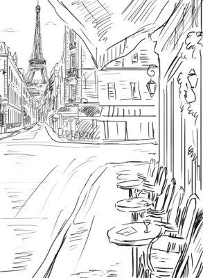 Plakát Ulice v paříži, skica ilustrace