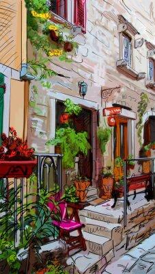 Plakát Ulice v Římě - ilustrace