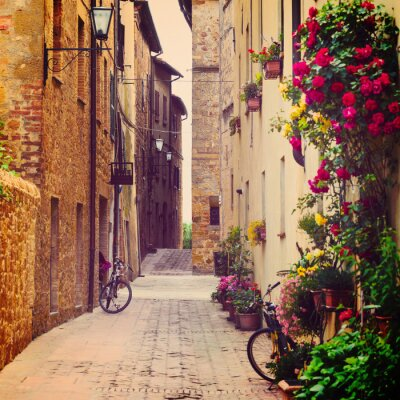 Plakát ulice ve městě Pienza