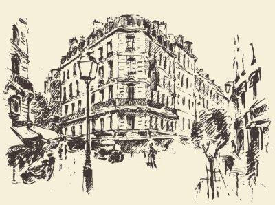 Plakát Ulicích Paříž Francie vinobraní ilustrace tažené