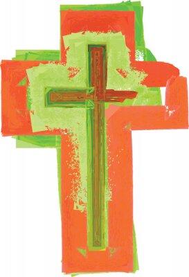 Plakát Umělecký abstraktní akvarel styl barevné moderní zelené a červený kříž
