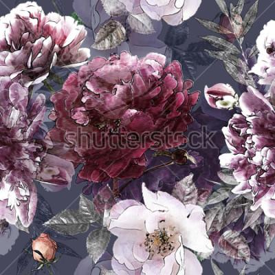 Plakát umění ročník tužka květinové barevné bezešvé vzor s bílými růže a fialové pivoňky na pozadí. Double Exposure a Bokeh efekt