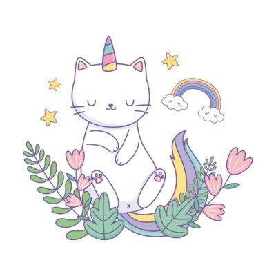Plakát Unicorn cat cartoon vector design