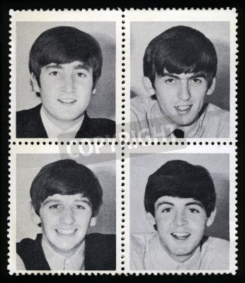 Plakát UNITED KINGDOM - CIRCA 1963: Vintage Merchandise stamps each portraying an image of a member of 'The Beatles', circa 1963.