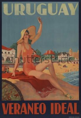 Plakát Uruguay, Veraneo Ideal. Cestovní plakát 30. let ukazuje krásu koupání na pláži.