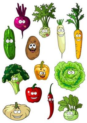 Plakát Usměvavé čerstvé zahradní zelenina